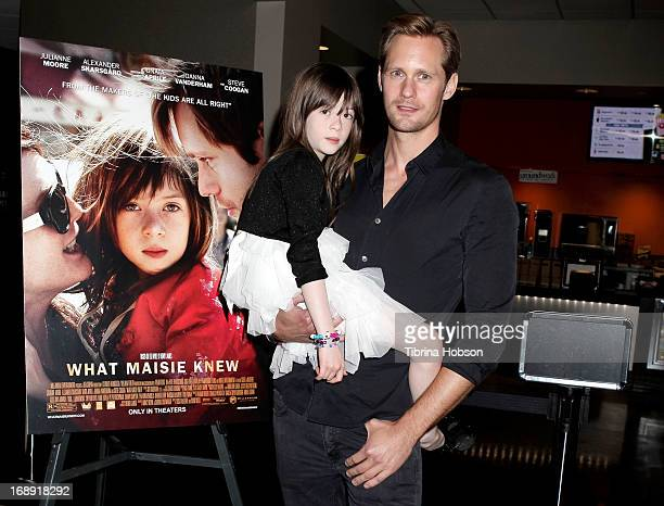 Onata Aprile and Alexander Skarsgard attend the LA Times Indie Focus screening of What Masie Knew at Laemmle Theater on May 16 2013 in North...