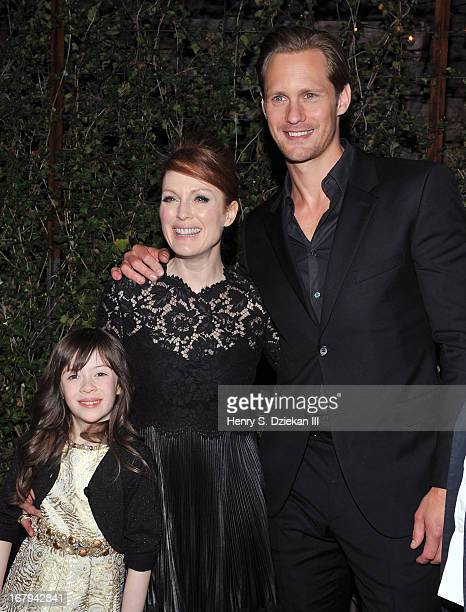 Onata Aprile Julianne Moore and Alexander Skarsgard attend The Cinema Society With Tod's GQ screening of Millennium Entertainment's What Maisie Knew...
