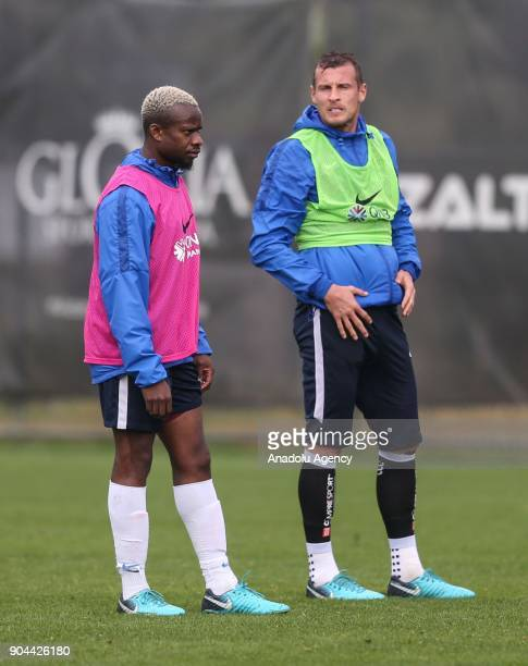 Onazi and Jan Durica of Trabzonspor attend the training session within the team's midseason training camp in Antalya Turkey on January 13 2018