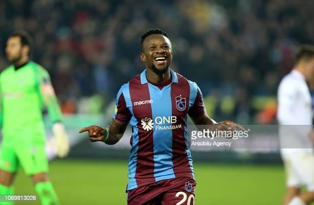 Onazi of Trabzonspor celebrates after scoring a goal during Turkish Super Lig soccer match between Trabzonspor and Atiker Konyaspor at Medical Park...