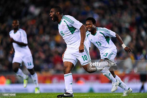 Onazi Ogenyi of Nigeria celebrates after scoring his team's first goal during a friendly match between Catalonia and Nigeria at Cornella-El Prat...