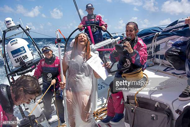 Onboard Team SCA Neptune asks the Pollywogs sailors crossing the Equator for the first time to pay tribute to Neptune helped by his Shellbacks...