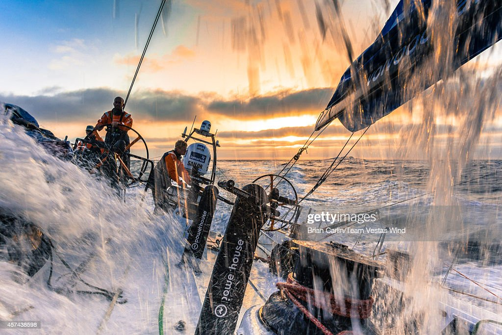 Onboard Team Vestas Wind. Maciel Cicchetti driving, Tony Rae on mainsheet and Nicolai Sehestead on trim as the boat surfs at 25 knts on the morning of Day 8. during Leg 1 October 18, 2014 between Alicante, Spain and Cape Town, South Africa. The Volvo Ocean Race 2014-15 is the 12th running of this ocean marathon. Starting from Alicante in Spain on October 11, 2014, the route, spanning some 39,379 nautical miles, visits 11 ports in 11 countries (Spain, South Africa, United Arab Emirates, China, New Zealand, Brazil, United States, Portugal, France, the Netherlands and Sweden) over nine months. The Volvo Ocean Race is the world's premier ocean race for professional racing crews.