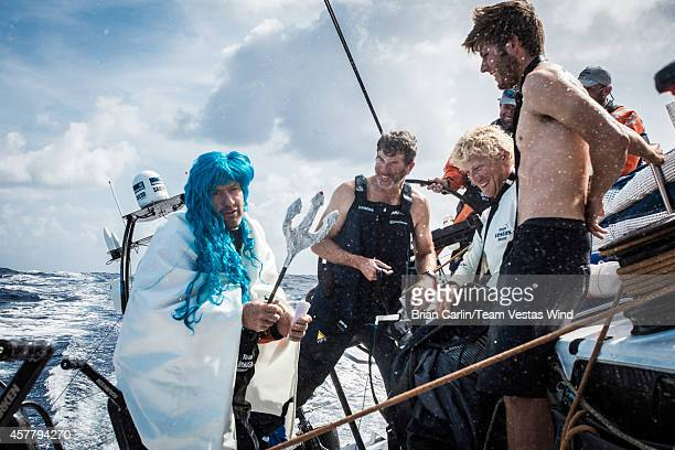Onboard Team Vestas Wind The Neptune ceremony 20knts reaching in the southern hemisphere Day 13 at sea Tony Rae as Neptune asking the Pollywogs...