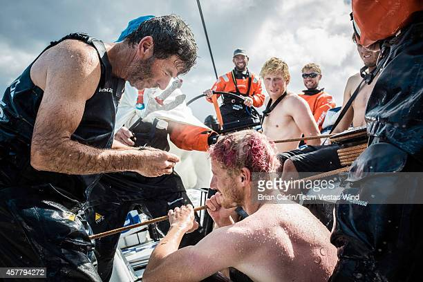Onboard Team Vestas Wind The Neptune ceremony 20knts reaching in the southern hemisphere Day 13 at sea Neptune asks the Pollywogs sailors crossing...