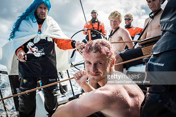 Onboard Team Vestas Wind The Neptune ceremony 20knts reaching in the southern hemisphere Day 13 at sea Tony Rae disguised as Neptune asking the...