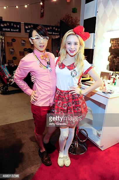 Onch Movement and Alessandra Torresani attend Sephora's First Ever Hello Kitty Beauty Shop at Hello Kitty Con on November 2 2014 in Los Angeles...