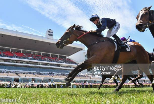 Oncidium Ruler ridden by Beau Mertens wins the Juvenile Diabetes Research Foundation Plate at Flemington Racecourse on November 11 2017 in Flemington...