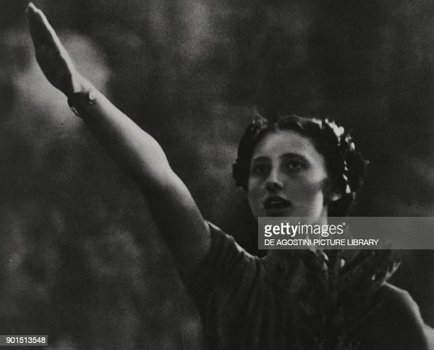 Ondina Valla giving the Roman salute Berlin Olympics Germany from L'Illustrazione Italiana Year LXV No 22 May 29 1938