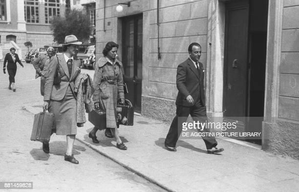 Ondina Valla going to the athletics training in Rapallo 19 April 1938 Italy 20th century