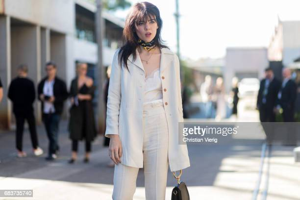 Ondine Daisy PurintonMiller wearing a white suit Gucci shoes Chloe bag at day 3 during MercedesBenz Fashion Week Resort 18 Collections at...