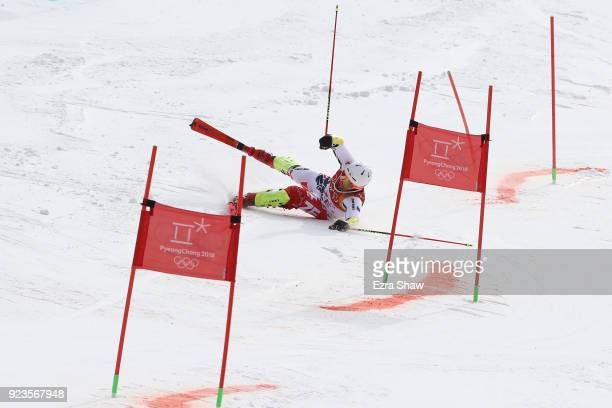 Ondrej Berndt of Czech Republic crashes during the Alpine Team Event 1/8 Finals on day 15 of the PyeongChang 2018 Winter Olympic Games at Yongpyong...