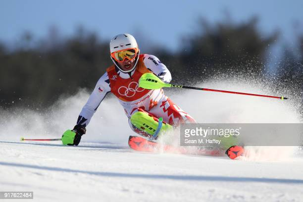 Ondrej Berndt of the Czech Republic makes a run during the Men's Alpine Combined Slalom on day four of the PyeongChang 2018 Winter Olympic Games at...