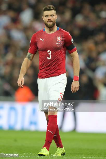 Ondrej Celustka of Czech looks dejected after scoring an own goal during the 2020 UEFA European Championships group A qualifying match between...