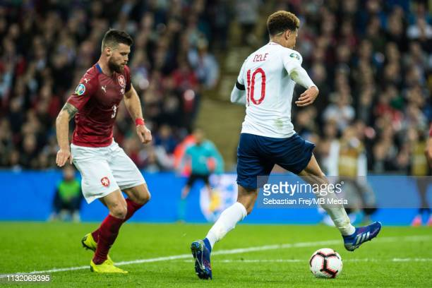 Ondrej Celustka of Czech Republic and Dele Alli of England during the 2020 UEFA European Championships group A qualifying match between England and...