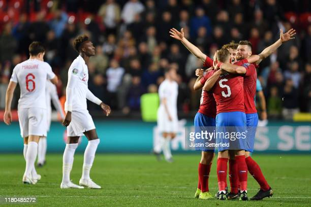 Ondrej Celustka of Czech Republic and Vladimir Coufal of Czech Republic celebrate at the final whistle after the UEFA Euro 2020 qualifier between...