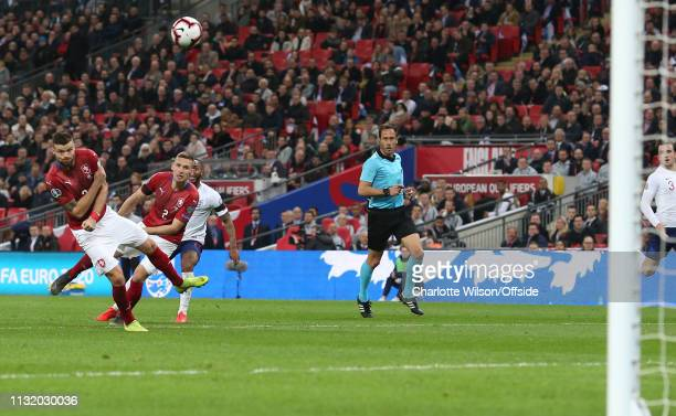 Ondrej Celustka of Czech scores an own goal after deflecting the shot of Raheem Sterling of England during the 2020 UEFA European Championships group...