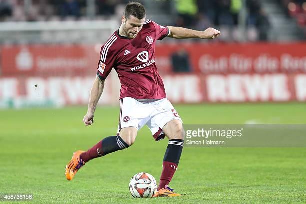 Ondrej Celustka of Nuernberg controls the ball during the Second Bundesliga match between SV Sandhausen and 1 FC Nuernberg at Hardtwaldstadion on...