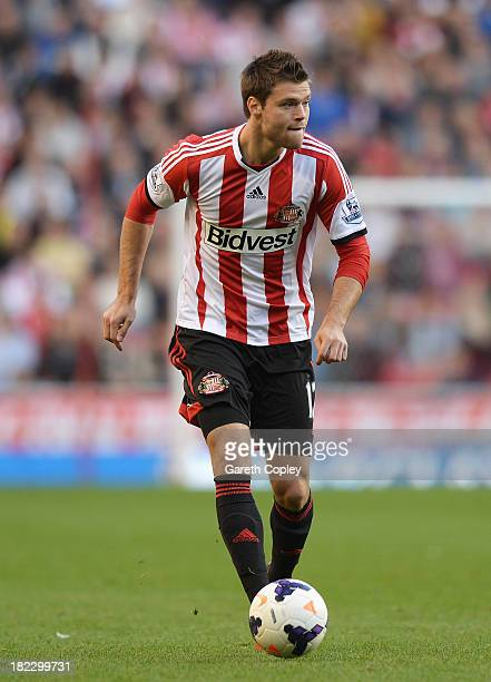 Ondrej Celustka of Sunderland in action during the Barclays Premier League match between Sunderland and Liverpool at the Stadium of Light on...