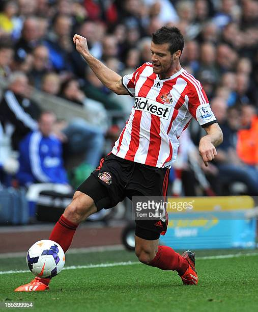 Ondrej Celustka of Sunderland in action during the Barclays Premier League match between Swansea City and Sunderland at Liberty Stadium on October 19...