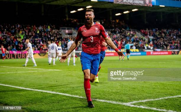 Ondrej Celustka of the Czech Republic celebrates after his team's second goal during the UEFA Euro 2020 Qualifier between Czech Republic and Kosovo...
