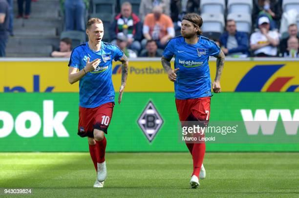 Ondrej Duda and Alexander Esswein of Hertha BSC before the Bundesliga game between Borussia Moenchengladbach and Hertha BSC at Borussia Park Stadion...