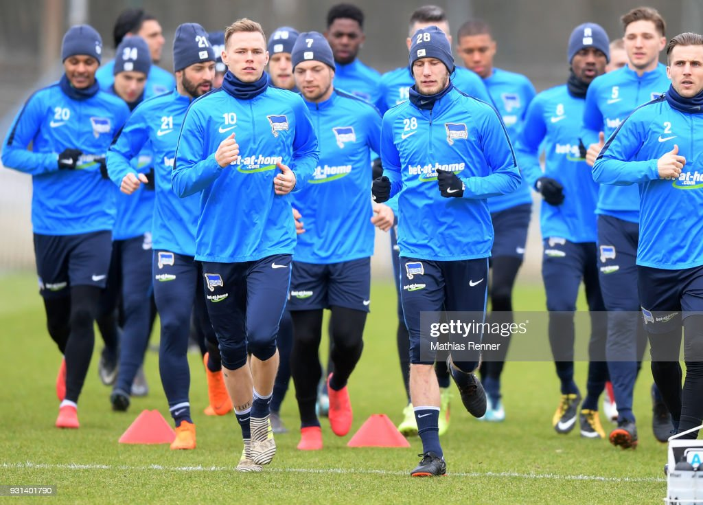 Ondrej Duda and Fabian Lustenberger of Hertha BSC during the training session at the Schenkendorfplatz on march 13, 2018 in Berlin, Germany.