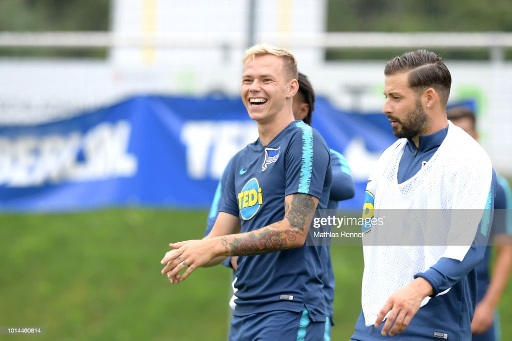 Ondrej Duda and Marvin Plattenhardt of Hertha BSC gesture during the training camp on august 10, 2018 in Schladming, Austria.