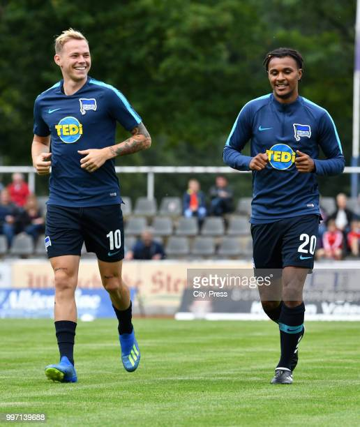 Ondrej Duda and Valentino Lazaro of Hertha BSC before the game between MSV Neuruppin against Hertha BSC at the VolksparkStadion on july 12 2018 in...