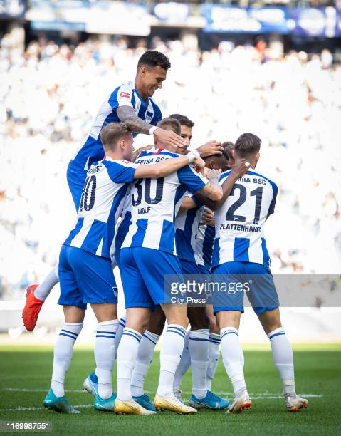 Ondrej Duda Davie Selke Marius Wolf and Marvin Plattenhardt of Hertha BSC celebrate after scoring the 10 during the German soccer league match...
