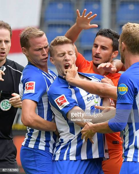 Ondrej Duda Mitchell Weiser of Hertha BSC and Perez Lopez Juan Carlos of FC Malaga during the game between Malaga CF and Hertha BSC on july 22 2017...