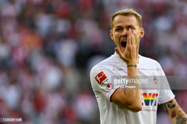 Ondrej Duda of 1. FC Koeln looks on during the Bundesliga match between 1. FC Koeln and RB Leipzig at RheinEnergieStadion on September 18, 2021 in...