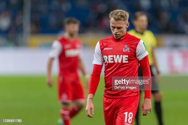Ondrej Duda of 1.FC Koeln looks dejected during the Bundesliga match between TSG Hoffenheim and 1. FC Köln at PreZero-Arena on October 15, 2021 in...