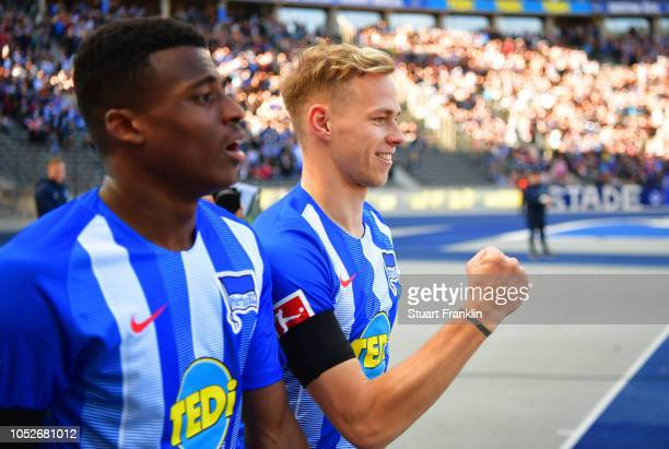 Ondrej Duda of Hertha BSC celebrates as he scores his team's first goal during the Bundesliga match between Hertha BSC and SportClub Freiburg at...