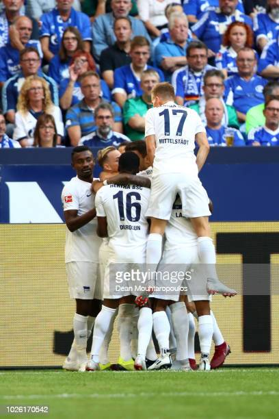 Ondrej Duda of Hertha BSC celebrates with teammates after scoring his team's first goal during the Bundesliga match between FC Schalke 04 and Hertha...