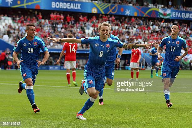 Ondrej Duda of Slovakia celebrates scoring the equalising goal during the UEFA Euro 2016 Group B match between Wales and Slovakia at Nouveau Stade de...
