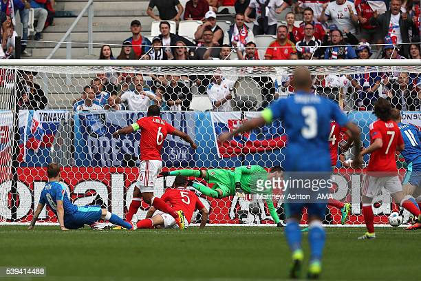 Ondrej Duda of Slovakia scores a goal to make the score 11 during the UEFA EURO 2016 Group B match between Wales and Slovakia at Stade Matmut...