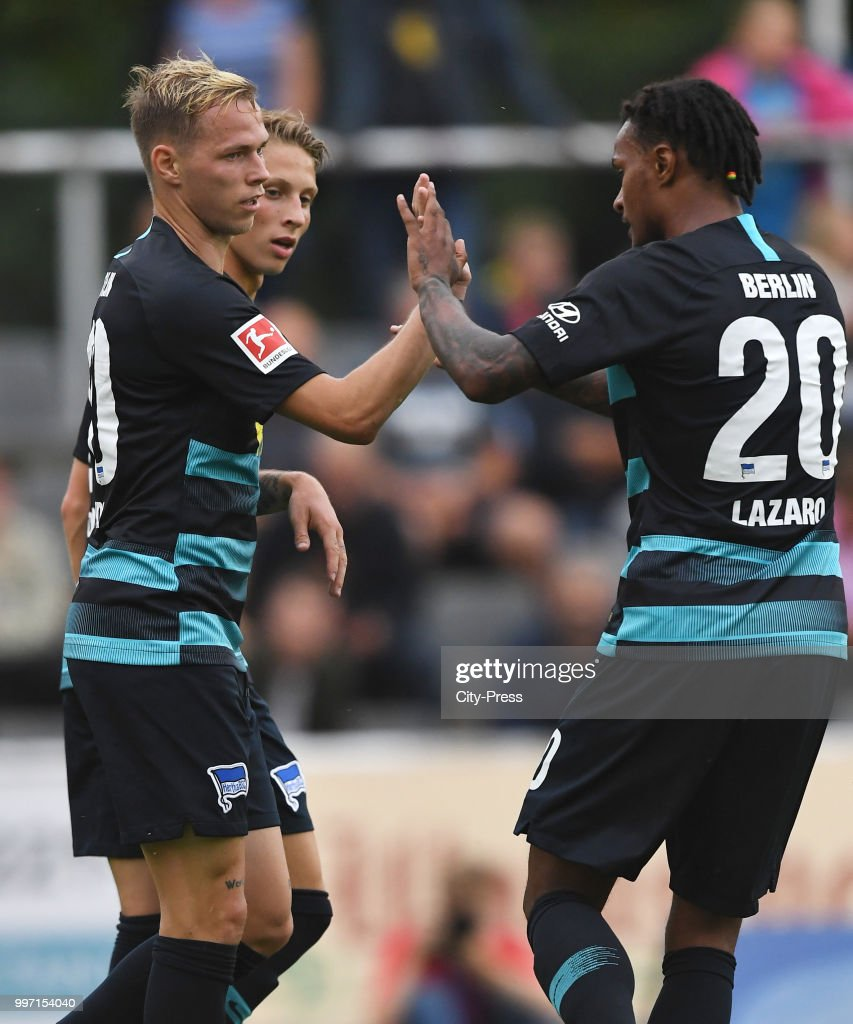 Ondrej Duda, Palko Dardai and Valentino Lazaro of Hertha BSC celebrate after scoring the 0:3 during the game between MSV Neuruppin against Hertha BSC at the Volkspar-Stadion on july 12, 2018 in Neuruppin, Germany.