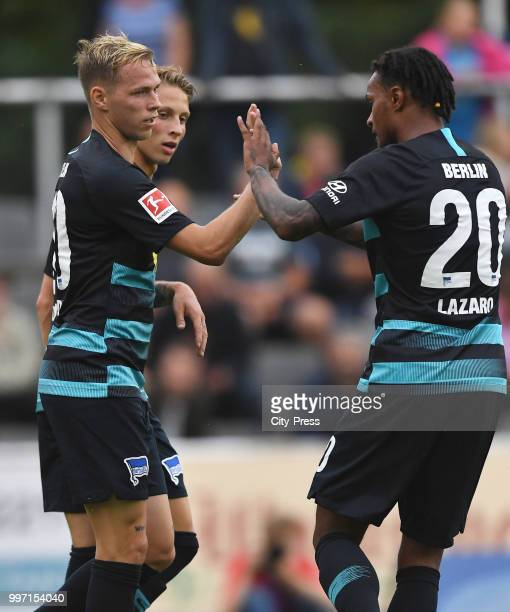 Ondrej Duda Palko Dardai and Valentino Lazaro of Hertha BSC celebrate after scoring the 03 during the game between MSV Neuruppin against Hertha BSC...