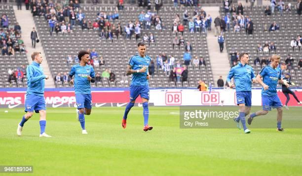 Ondrej Duda Valentino Lazaro Davie Selke Vladimir Darida and Per Skjelbred of Hertha BSC before the Bundesliga game between Hertha BSC and 1st FC...
