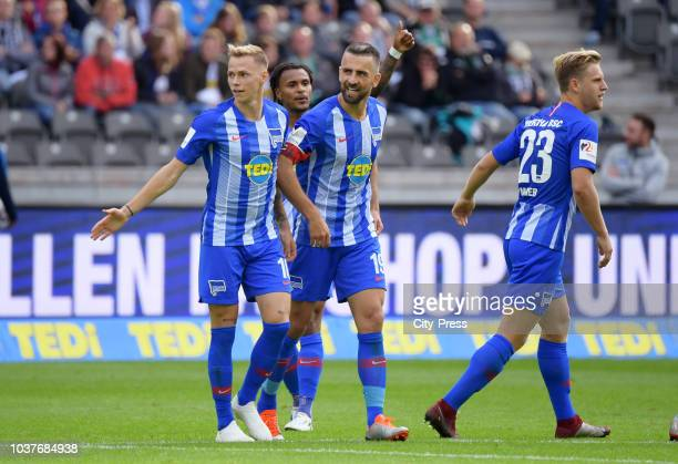 Ondrej Duda Valentino Lazaro Vedad Ibisevic and Arne Maier of Hertha BSC celebrate after scoring the 11 during the game between Hertha BSC and...