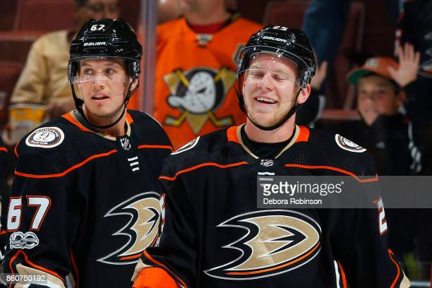 Ondrej Kase and Rickard Rakell of the Anaheim Ducks skate in warmups prior to the game against the Calgary Flames on October 9 2017 at Honda Center...