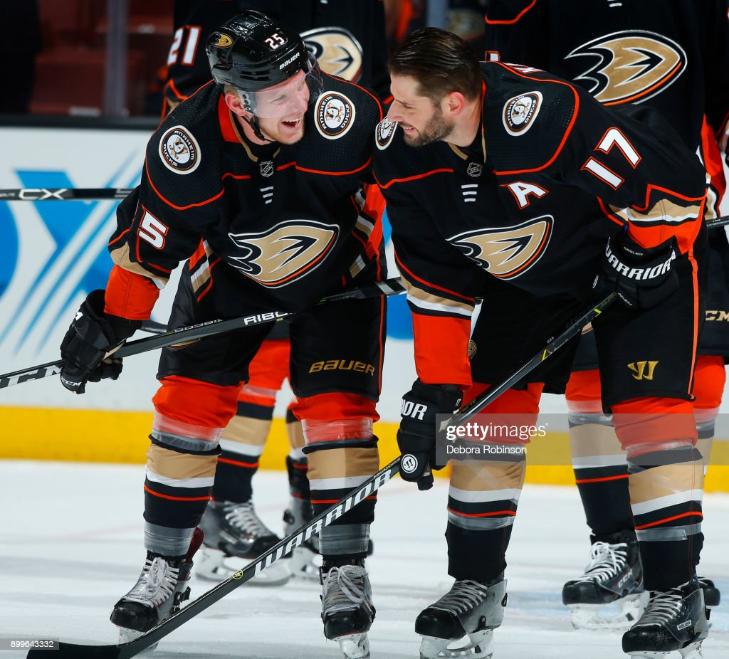 Ondrej Kase #25 and Ryan Kesler #17 of the Anaheim Ducks chat in warm-ups prior to the game against the Calgary Flames on December 29, 2017 at Honda Center in Anaheim, California.