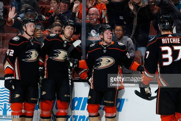 Ondrej Kase Josh Manson Hampus Lindholm and Nick Ritchie of the Anaheim Ducks celebrate Kase's goal in the first period of the game against the San...