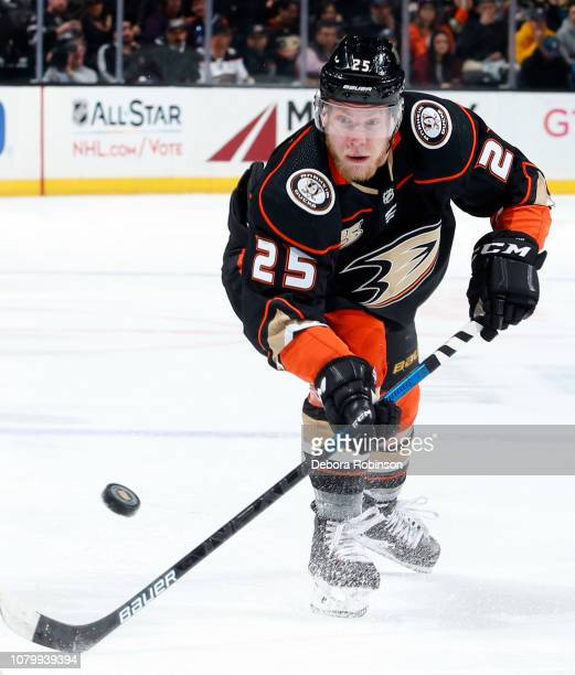 Ondrej Kase of the Anaheim Ducks battles for the puck during the game against the Ottawa Senators on January 9 2018 at Honda Center in Anaheim...
