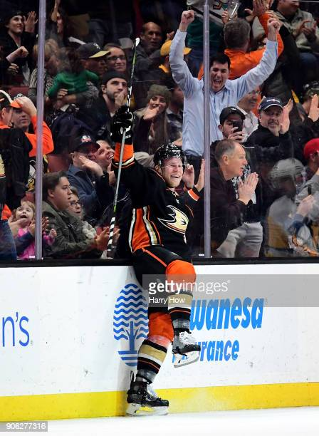 Ondrej Kase of the Anaheim Ducks celebrates his goal to take a 41 lead over the Pittsburgh Penguins during the second period at Honda Center on...
