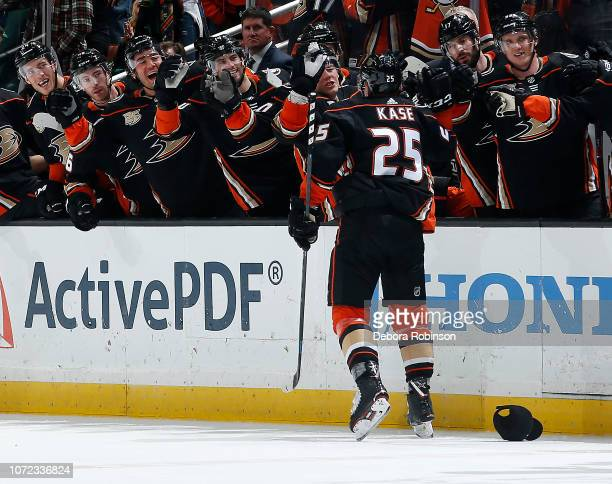 Ondrej Kase of the Anaheim Ducks celebrates his hattrick goal the first of his NHL career during the third period of the game against the Dallas...