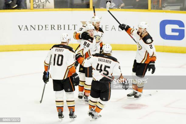Ondrej Kase of the Anaheim Ducks celebrates with teammates after scoring a goal against the Nashville Predators during the second period in Game Six...