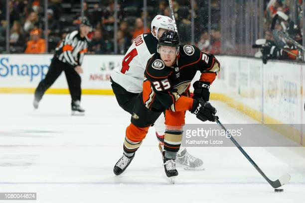 Ondrej Kase of the Anaheim Ducks looks down the ice against the New Jersey Devils at Honda Center on December 09 2018 in Anaheim California