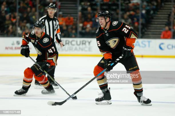 Ondrej Kase of the Anaheim Ducks looks for a pass against the New Jersey Devils at Honda Center on December 09 2018 in Anaheim California